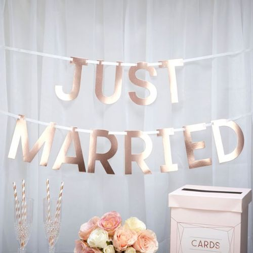Geo Blush Rose Gold 'Just Married' Wedding Bunting (each)